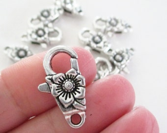 Silver Flower Lobster Clasps - Antique Silver Lobster Clasp - Fancy Flower Clasp - 24mm - Necklace Findings - DIY Jewelry Supplies - 4 Pcs