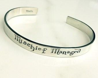 Mischief Managed Bracelet . Harry Potter Inspired Cuff Bracelet . Harry Potter Jewelry . Hogwarts Bracelet
