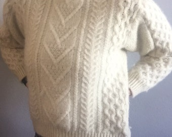 60s irish cable knit chunky pullover jumper SWEATER mod VINTAGE cream ivory warm WOOL sweater extra small xs s mid century kitsch preppy