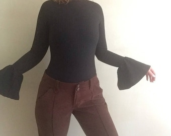 Low Rise Flare | 90s flared low rise brown pants women 7 8 9 medium bottoms hip huggers vintage trousers