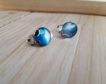Blue Universe Cabochon Clip on Earrings