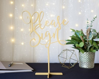 """Wedding Sign Guestbook Table """"Please Sign"""" Standing Wedding Sign Guest Book or Party Table Decor Reception Signs (Item - LPS150)"""