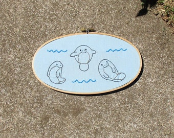 Manatee Embroidery Little Manatee Picture Sea Cow Embroidery Small Manatee Picture Manatees Beach Blue Manatee Hoop Art Small Cute Manatee