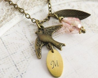Personalized bird necklace, pink jewelry, rustic fall necklace, nature inspired jewelry, gift for her, bronze whimsical jewelry