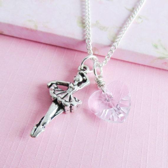 Ballet Charm Bracelet: Pink Ballet Necklace Childrens Charm Necklaces Ballerina