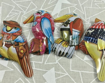 vintage bird pins tin lithographed FREE SHIPPING