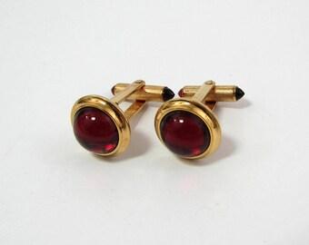 Vintage Krementz Cufflinks - Red Glass & Gold tone - domed face - 5/8  diam - ca 1950s