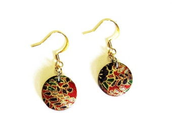 Red Earrings Round wood disk dangle earrings in Red patterned washi