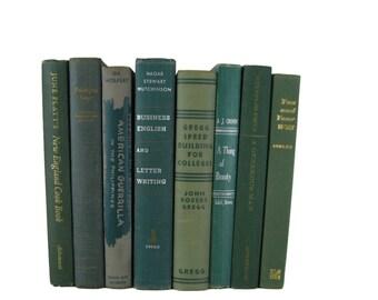 Green Decorative Books , Green Vintage Books , Home Decor , Old Books , Vintage Photo Props , Table Setting , Wedding Decor