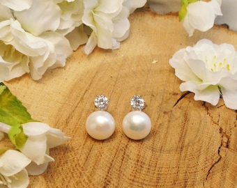 Sale Real Freshwater Pearl Stud Earrings, Wedding Sale, Large 11 mm Button Freshwater Pearl with 5.5 mm Clear CZ, Bridesmaid Gift