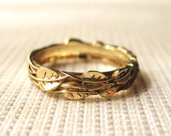 Gold Leaf Wedding ring, Gold Wedding Leaf Ring, Leaves Wedding Ring, Leaf Gold Ring, Wedding Leaves Ring, Forest Wedding Ring, Floral Ring