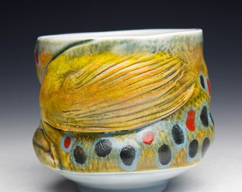 Porcelain Hand Made Brown Trout Yunomi Water Animal (Nature as Objects) Gyotaku Trout Art Fish Cup Fish Art