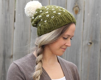 Woman's Heart Fair Isle Knitted Slouchy Hat in Cilantro Green with Off White Pom Pom