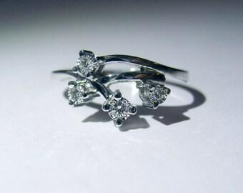 Genuine Top Grade Diamonds In 14K White Gold Ring. Size 6.75