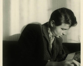 "Vintage Photo ""The 5pm Reader"" Snapshot Antique Photo Old Black & White Photograph Found Paper Ephemera Vernacular - 48"