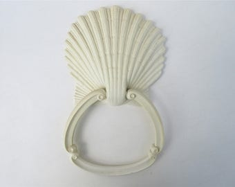 Vintage Shell Ring Holder | Towel Holder | Sea Shell Wall Hook | Towel Rack | Homco Seashell | Hand Towel Hanger