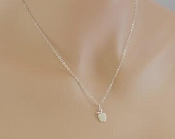 Apple Necklace, Sterling Silver, Teacher Necklace, BeadXS, Apple Pendant, Teacher Appreciation, Apple Jewelry, New York, Big Apple, For Her
