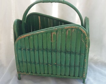 Green Wood Wicker Handled Magazine Rack Storage Container