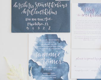 Sammy & Tomer Wedding Invitations - Navy Blue Watercolor - Beach Wedding Invitation - Invitation - Calligraphy - The Capri Suite