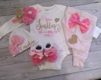 baby girl, coming home outfit, newborn, take home outfit, sparkling new, name, baby shirt, monogramed, personalized, outfit, clothes, baby