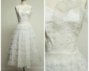 RESERVED // Vintage 1950s Dress • Entrancing Divine • White Tulle Strapless 50s Formal Party Dress Size Small