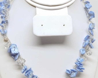 Light Blue Mother of Pearl and Silver Necklace