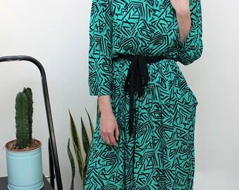 St Michael Green and Black Zigzag Print Dress Size UK 12, US 8, EU 40