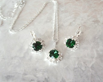 Emerald necklace and earrings set, Swarovski crystal jewelry set, Sterling Silver, Brides jewelry set, May Birthday, Christmas jewelry, Gift