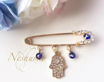 Blue Evil Eye Pin, Hamsa Safety Pin, Evil Eye Charms, Gold Evil Eye Pin, Pave Evil Eye, Good Luck Pin, Hijab Pin, Mom Gift