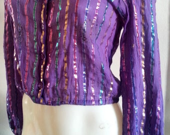 Gauze cropped top with shiny stripes vintage 90s