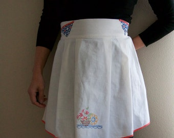 Vintage Embroidered Half Apron