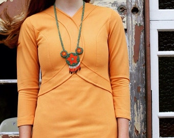 Hot 1960's Pumpkin Orange Mini Dress with detailed Bodice