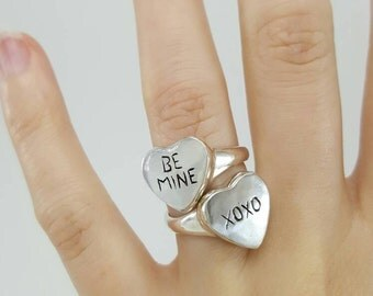Candy Heart Ring in Sterling Silver, Silver Be Mine Ring, Silver Candy Heart, XOXO ring, silver heart ring, conversation heart ring silver