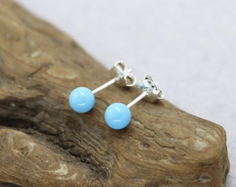 Turquoise stud earrings turquoise studs sterling silver genuine turquoise earrings gift for her 5 mm stud earrings tiny stud earrings