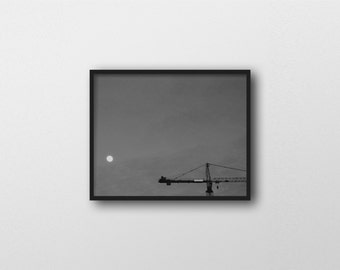 LUNAR INDUSTRIES | Scifi art print | black and white photography | industrial home decor | full moon photo | futuristic dystopian inspired