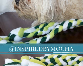 Fleece Dog Toy in Green and White - Handmade dog tug toy, gift for dog lover, puppy toy, braided dog toy