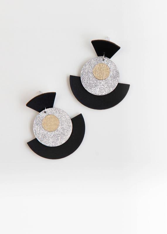 Large black fan drop earrings- geometric leather earrings- circle drop earring- big fan earrings- black silver gold large statement earrings