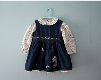 Vintage calico dress and blue jean pinafore / baby girl size 12 to 18 months