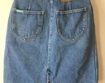 Jordache Jean Denim Skirt  90s womens xs Western Two Toned 26.5 Waist