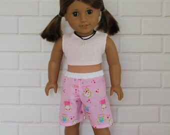 """Beach Outfit Pale Pink Crop Top Pink Board Shorts Dolls Clothes for 20"""" Australian Girl dolls & 18"""" American Girl dolls and friends"""