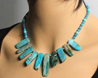 Blue Imperial Jasper Necklace, Silver Pewter finish, artisan statement necklace, blue gemstone, gift for her, boho bib necklace, 4056