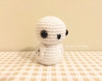 Amigurumi Crochet Owl Animal Bird Kokeshi Doll Pattern - Snowy Owlet (Harry Potter Hedwig), Cute Geeky Nerd Friendship Gift Room Table Decor