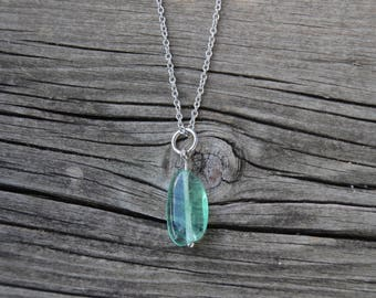 Flourite Stone Pendant on Stainless Chain - Mint Green Stone Pendant Necklace - Green Yoga Jewelry - Transparent Green Stone Necklace