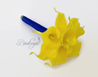 CHOOSE RIBBON COLOR - Yellow Calla Lily Bouquet, Real Touch Yellow Calla Lily Bouquet, Bridal Bouquet, Bridesmaid, Toss, Maid of Honor