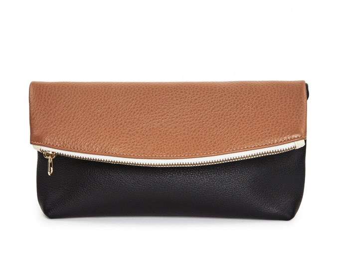 Brown & black leather foldover clutch block party