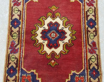 Vintage Oushak Pillow Cover / 3 by 4 / Blue-Red / Boho Rug / Rustic / Konya / Medallion Rug - 49 in x 30 in