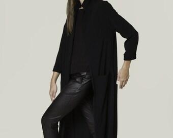 Black coat, Long black coat, Slim shape coat, Black cardigan, long sleeves, modern jacket, designer coat, open cardigan, pocket, maxi coat