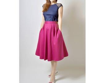 Linen Fuchsia Skirt, Midi skirt, Linen Skirt, Flared Skirt with Pockets
