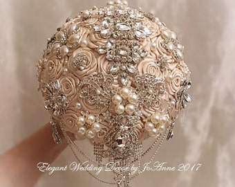 Champagne and Silver Brooch Bouquet, Custom Brooch Wedding Bouquet, Silver Brooch Bouquet, Broach Bouquet, SIlver Jeweled Bouquet , DEPOSIT