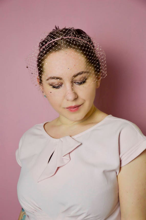 Blush Pink Birdcage Fascinator